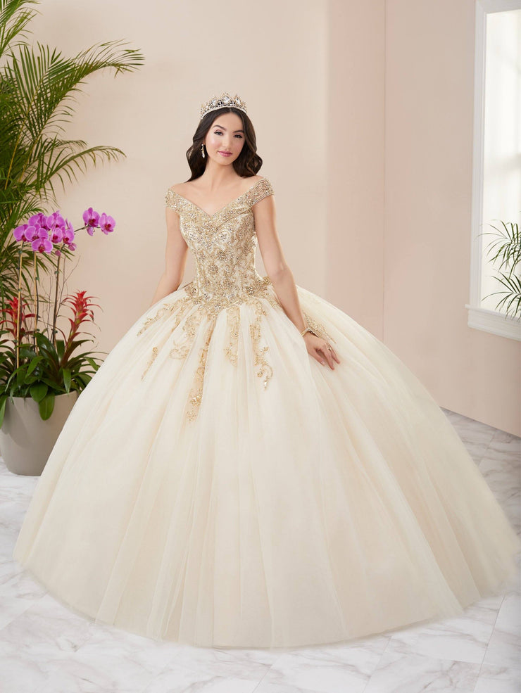 Beaded Off Shoulder Quinceanera Dress by Fiesta Gowns 56407 (Size 10 - 16)