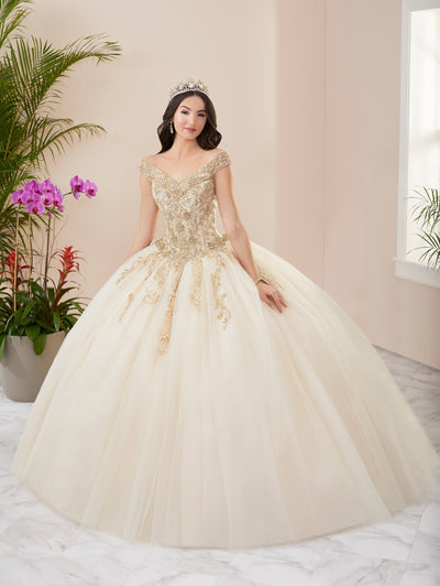 Beaded Off Shoulder Quinceanera Dress by Fiesta Gowns 56407 (Size 18 - 26)