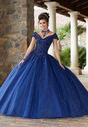 Beaded Off Shoulder Quinceanera Dress by Mori Lee Valencia 60091-Quinceanera Dresses-ABC Fashion