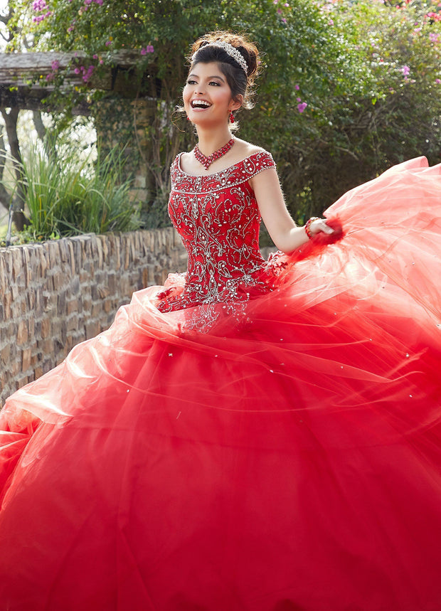 Beaded Off Shoulder Quinceanera Dress by Mori Lee Valencia 60097-Qu