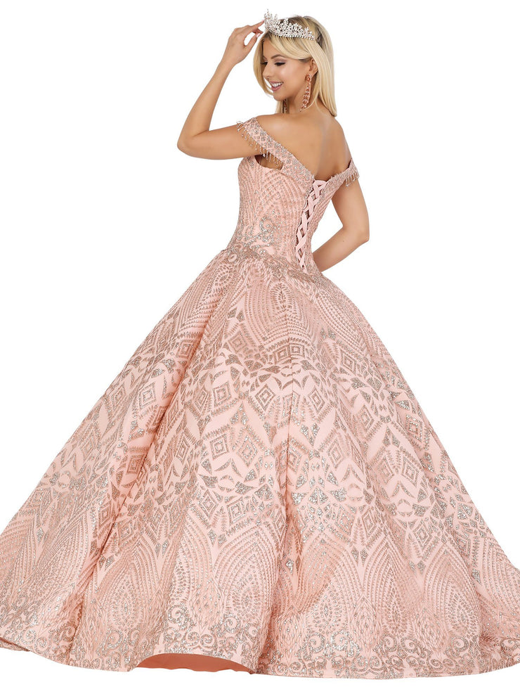 Beaded Off the Shoulder Ball Gown by Dancing Queen 1518