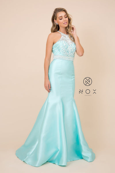 Beaded Open Back Mermaid Dress by Nox Anabel 8296