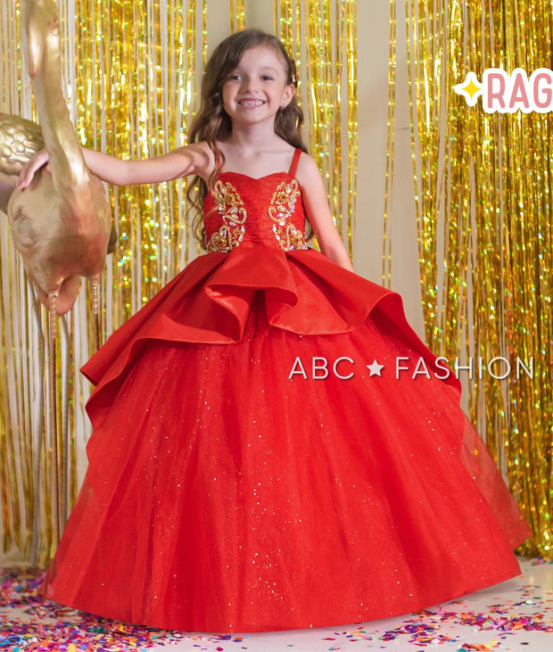 Beaded Red A-line Ball Gown by Ragazza Kids N04-704