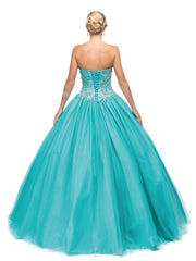 Beaded Red Strapless A-line Ball Gown by Dancing Queen 9148-Quinceanera Dresses-ABC Fashion