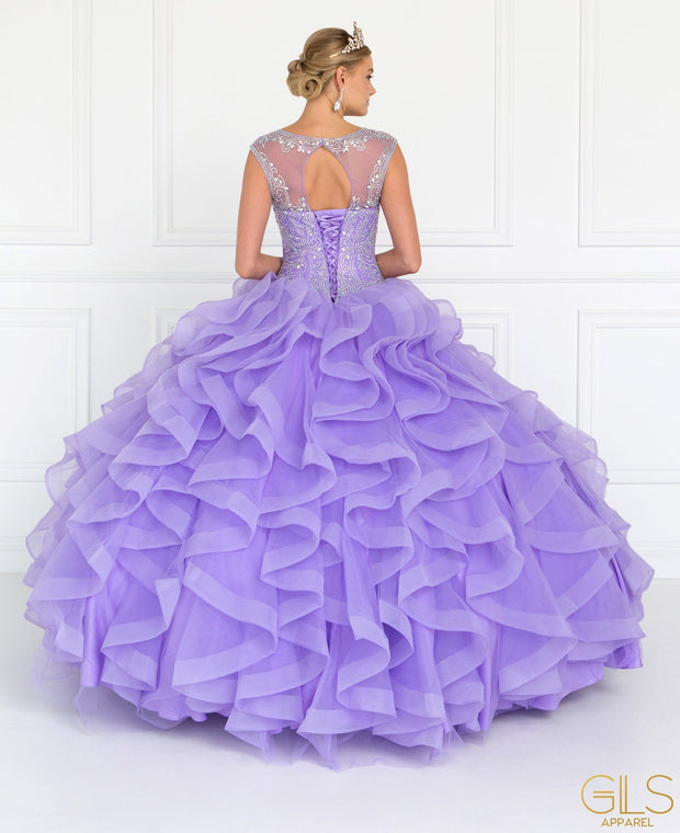 Beaded Ruffled Ball Gown with Bolero by Elizabeth K GL1555-Quinceanera Dresses-ABC Fashion