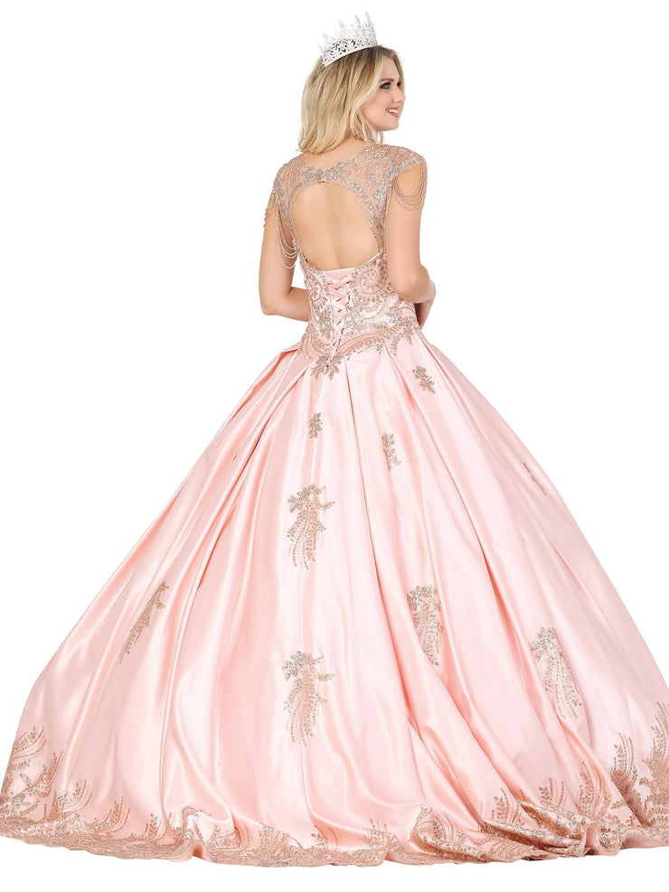 Beaded Satin Sweetheart Ball Gown by Dancing Queen 1522