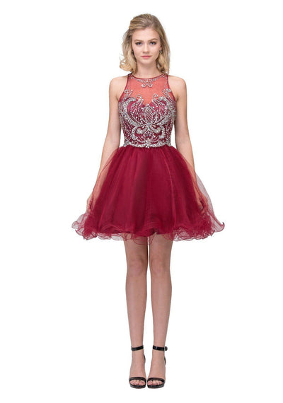 Beaded Short Illusion Dress with Back Cutouts by Star Box 17262-Short Cocktail Dresses-ABC Fashion