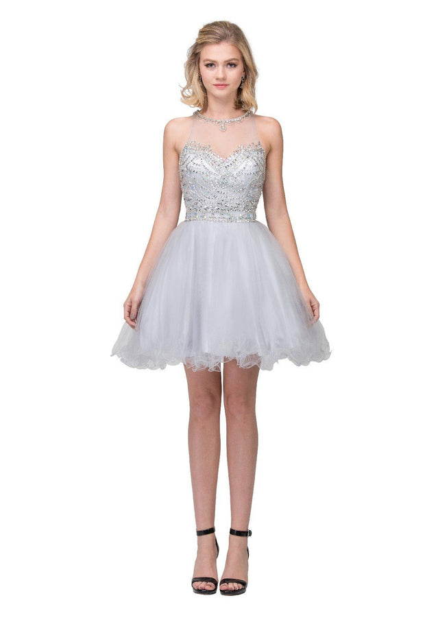 Beaded Short Illusion Dress with Ruffled Skirt by Star Box 17247-Short Cocktail Dresses-ABC Fashion