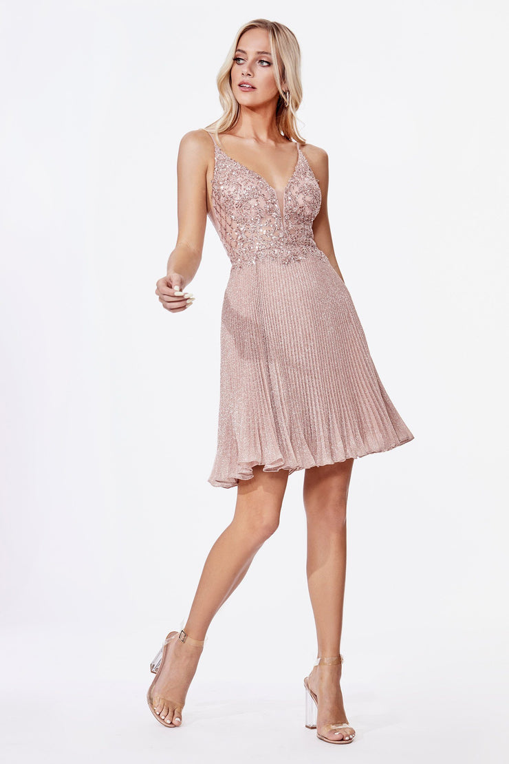 Beaded Short Metallic Dress by Cinderella Divine CD0163S