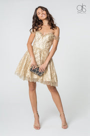 Beaded Short Off the Shoulder Glitter Dress by Elizabeth K GS2834-Short Cocktail Dresses-ABC Fashion
