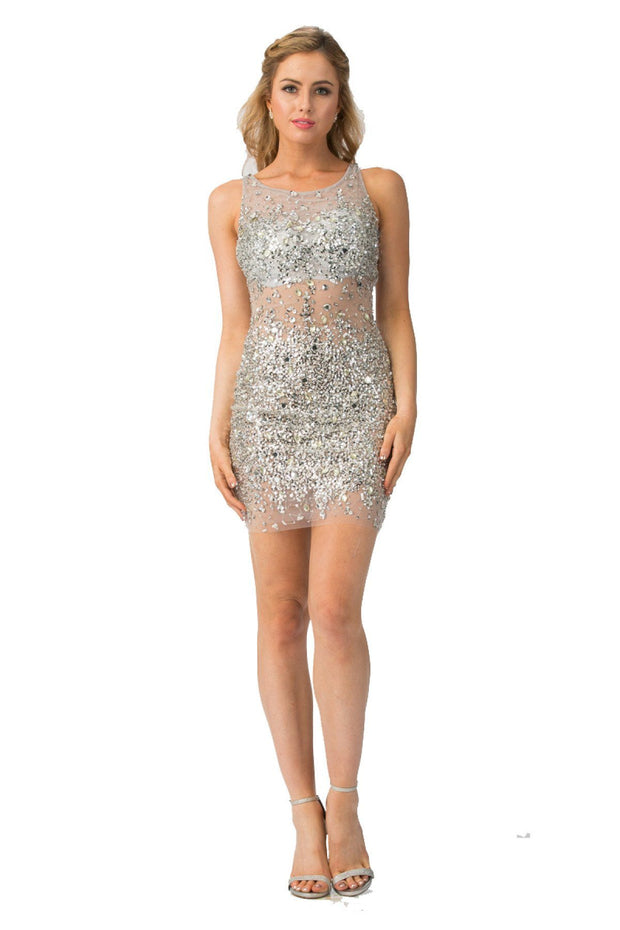 Beaded Short Sheer Dress by Star Box 6075-Short Cocktail Dresses-ABC Fashion