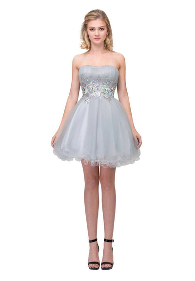 Beaded Short Strapless Dress with Ruffled Skirt by Star Box 6057-Short Cocktail Dresses-ABC Fashion