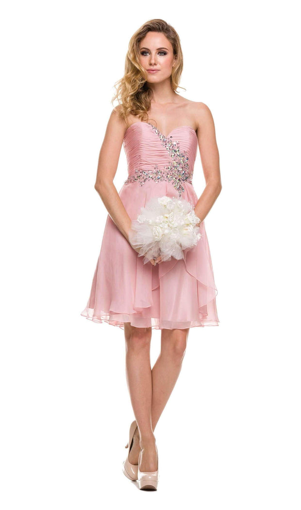 Beaded Short Strapless Sweetheart Dress with Corset Back by Juliet 741-Short Cocktail Dresses-ABC Fashion
