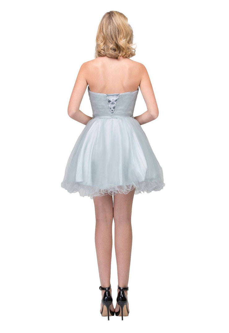 Beaded Short Sweetheart Dress with Ruffled Skirt by Star Box 6059-Short Cocktail Dresses-ABC Fashion
