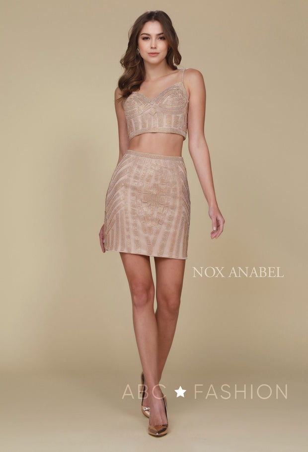 Beaded Short Two-Piece Dress with Pencil Skirt by Nox Anabel R650-Short Cocktail Dresses-ABC Fashion