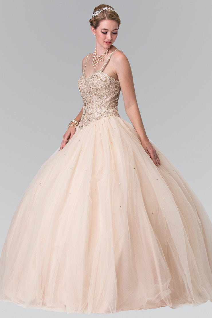 Beaded Sleeveless A-Line Ballgown by Elizabeth K GL2350-Quinceanera Dresses-ABC Fashion