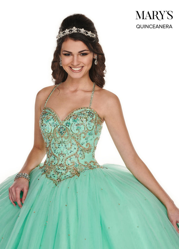 Beaded Sleeveless A-line Quinceanera Dress by Mary's Bridal MQ1054-Quinceanera Dresses-ABC Fashion
