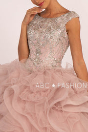 Beaded Sleeveless Ball Gown with Ruffled Skirt by Elizabeth K GL2514-Quinceanera Dresses-ABC Fashion