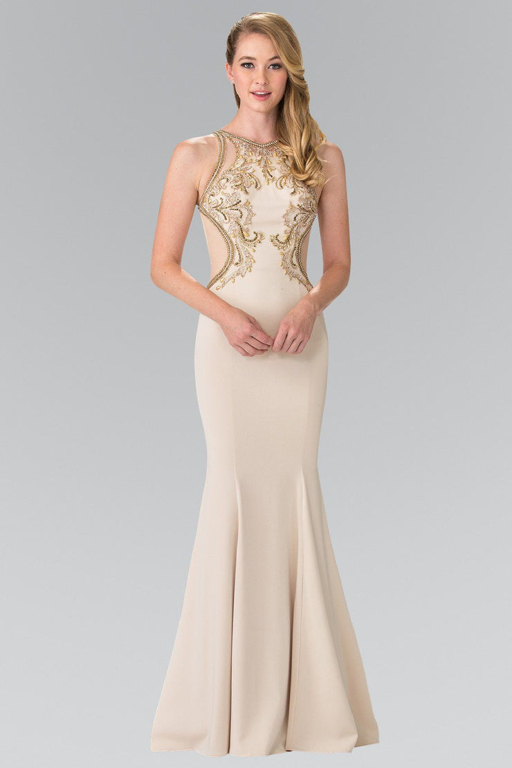 Beaded Sleeveless Dress with Sheer Back by Elizabeth K GL2237-Long Formal Dresses-ABC Fashion