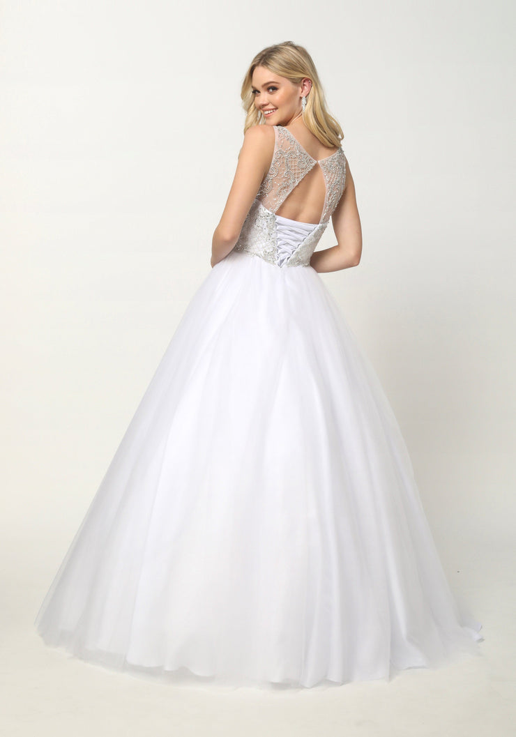 Beaded Sleeveless Illusion Ball Gown with A-line Skirt by Juliet 1417-Quinceanera Dresses-ABC Fashion