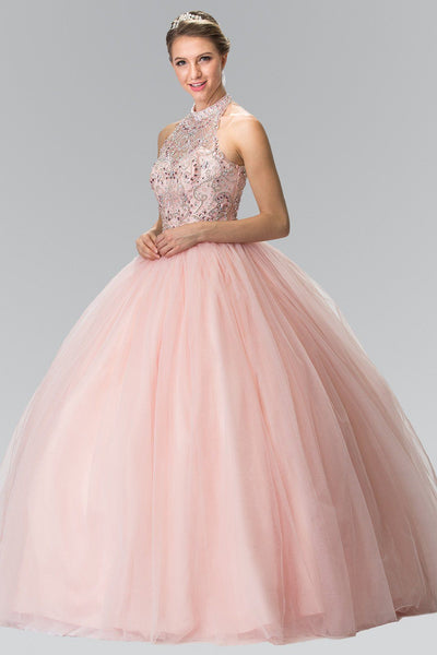 Beaded Sleeveless Illusion Ballgown by Elizabeth K GL2206-Quinceanera Dresses-ABC Fashion