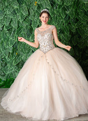 Beaded Sleeveless Illusion Quinceanera Dress by Calla KY77621X-Quinceanera Dresses-ABC Fashion