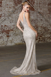 Beaded Sleeveless Mermaid Dress by Cinderella Divine CD901