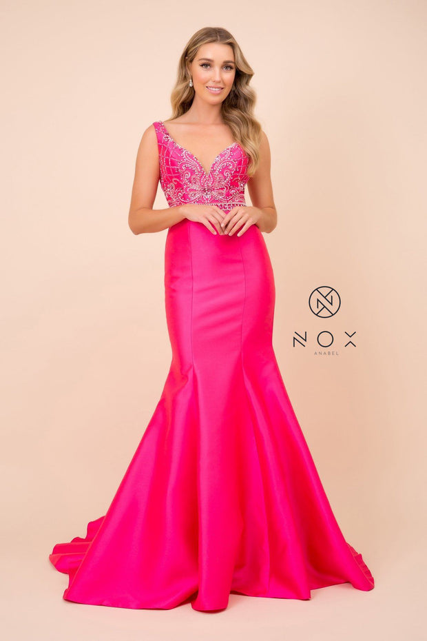 Beaded Sleeveless Mermaid Dress by Nox Anabel 8307