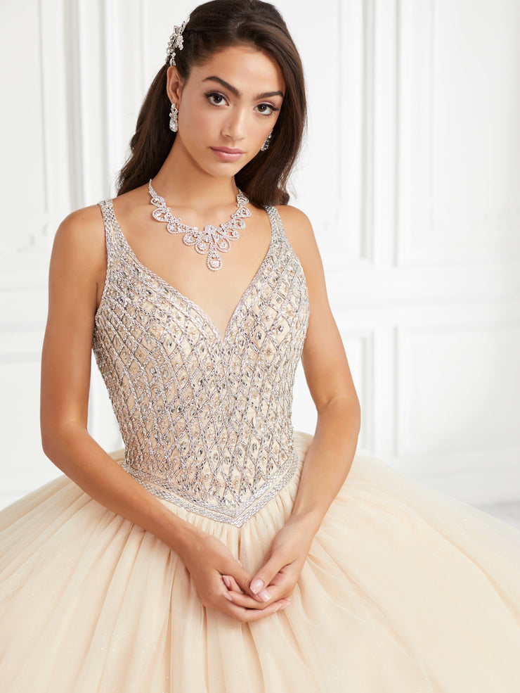 Beaded Sleeveless Quinceanera Dress by Fiesta Gowns 56392 (Size 28 - 30)-Quinceanera Dresses-ABC Fashion