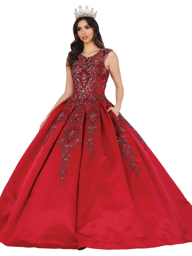 Beaded Sleeveless Scoop Ball Gown by Dancing Queen 1491