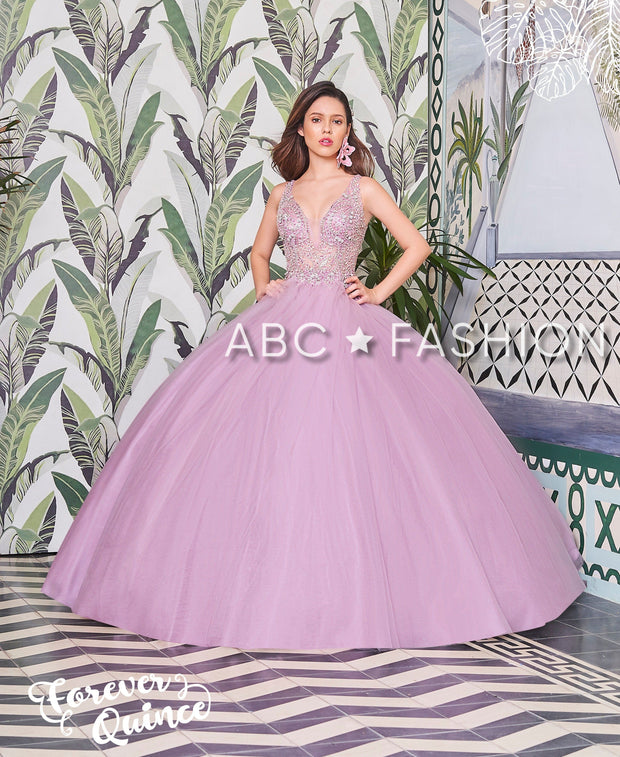 Beaded Sleeveless V-Neck Quinceanera Dress by Forever Quince FQ804-Quinceanera Dresses-ABC Fashion