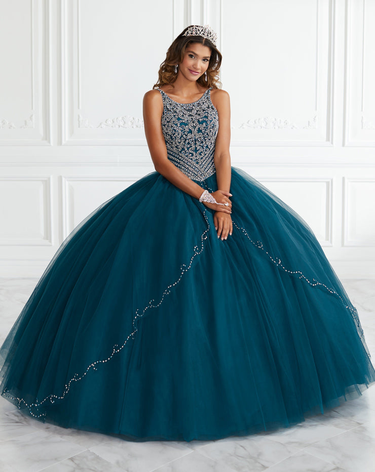 Beaded Split Front Quinceanera Dress by Fiesta Gowns 56388 (Size 10 - 16)-Quinceanera Dresses-ABC Fashion