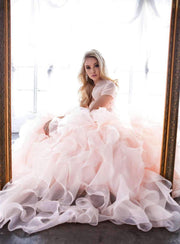 Beaded Strapless Ball Gown with Organza Ruffled Skirt by Juliet 1418-Quinceanera Dresses-ABC Fashion