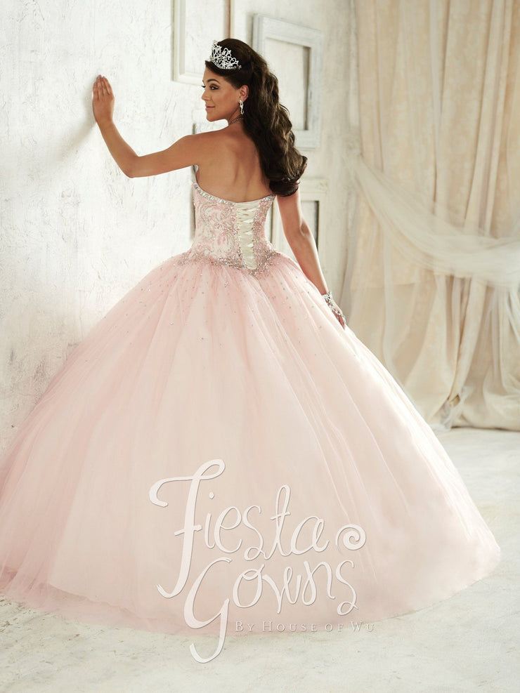 Beaded Strapless Dress by House of Wu Fiesta Gowns Style 56287-Quinceanera Dresses-ABC Fashion