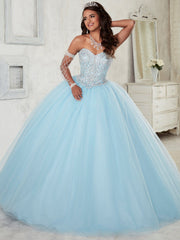 Beaded Strapless Dress by House of Wu Fiesta Gowns Style 56298-Quinceanera Dresses-ABC Fashion