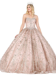 Beaded Strapless Glitter Ball Gown by Dancing Queen 1406