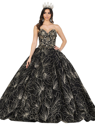 Beaded Strapless Glitter Print Ball Gown by Dancing Queen 1455
