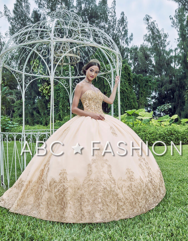 Beaded Strapless Quinceanera Dress by Fiesta Gowns 56386 (Size 10 - 16)-Quinceanera Dresses-ABC Fashion
