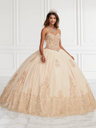 Beaded Strapless Quinceanera Dress by Fiesta Gowns 56386 (Size 28 - 30)-Quinceanera Dresses-ABC Fashion