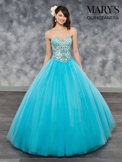 Beaded Strapless Quinceanera Dress by Mary's Bridal MQ1015-Quinceanera Dresses-ABC Fashion