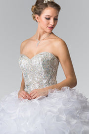 Beaded Strapless Ruffled Ballgown by Elizabeth K GL2209-Quinceanera Dresses-ABC Fashion