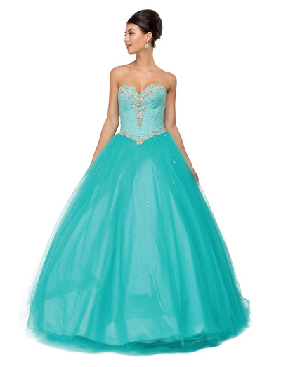 Beaded Strapless Sweetheart A-line Ball Gown by Dancing Queen 1111-Quinceanera Dresses-ABC Fashion