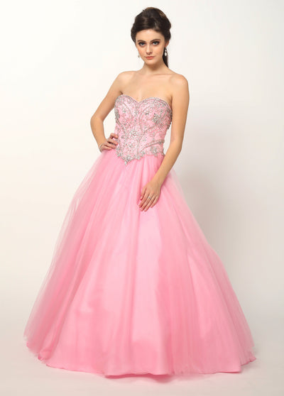 Beaded Strapless Sweetheart A-line Ball Gown by Juliet 361-Quinceanera Dresses-ABC Fashion