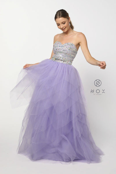Beaded Strapless Sweetheart Gown with Tiered Skirt by Nox Anabel 2740-Long Formal Dresses-ABC Fashion