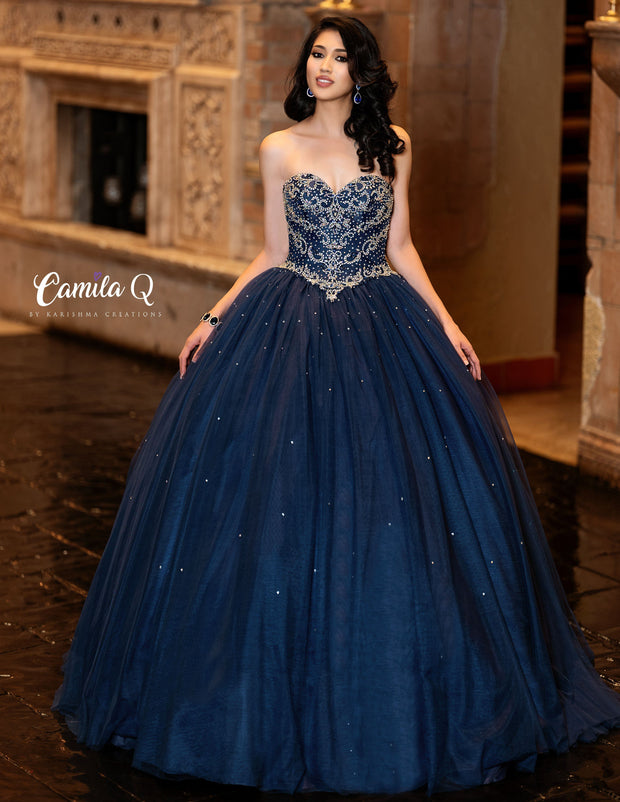Beaded Strapless Sweetheart Quinceanera Dress by Camila Q Q19008-Quinceanera Dresses-ABC Fashion