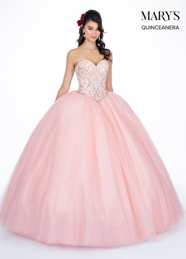 Beaded Strapless Sweetheart Quinceanera Dress by Mary's Bridal MQ1033-Quinceanera Dresses-ABC Fashion