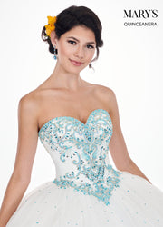 Beaded Strapless Sweetheart Quinceanera Dress by Mary's Bridal MQ1040-Quinceanera Dresses-ABC Fashion
