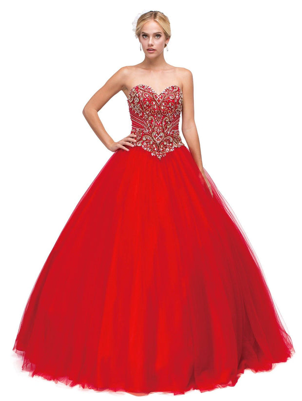 Beaded Strapless Sweetheart Red Ball Gown by Dancing Queen 1132-Quinceanera Dresses-ABC Fashion