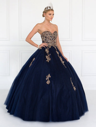 Beaded Strapless Sweetheart Tulle Ball Gown by Elizabeth K GL1560-Quinceanera Dresses-ABC Fashion