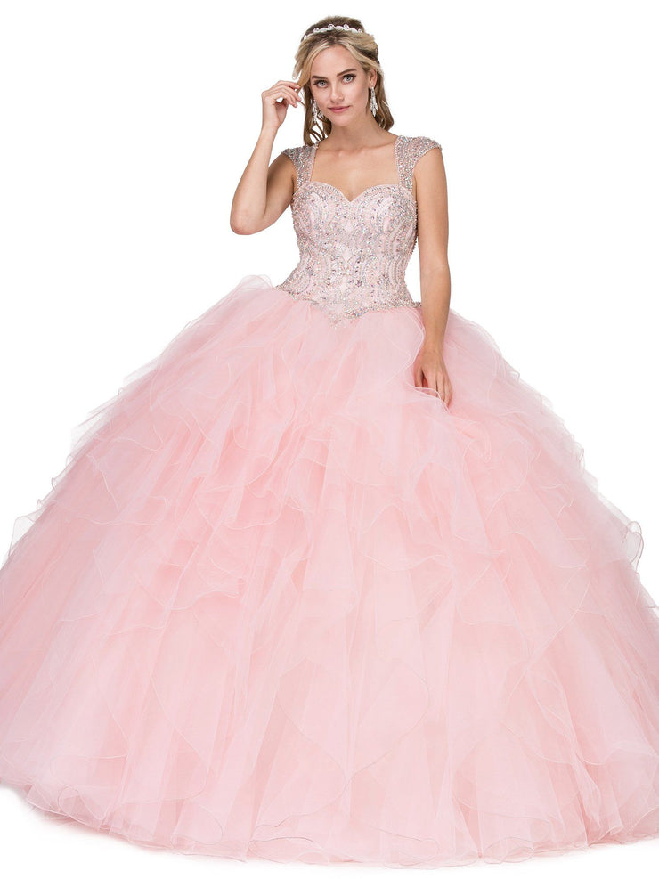 Beaded Sweetheart Ball Gown with Ruffled Skirt by Dancing Queen 1272